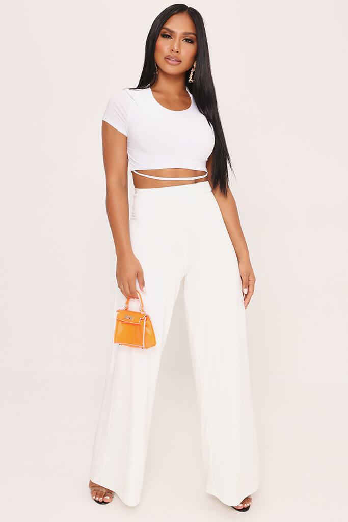 White High Waisted Premium Slinky Wide Leg Trousers