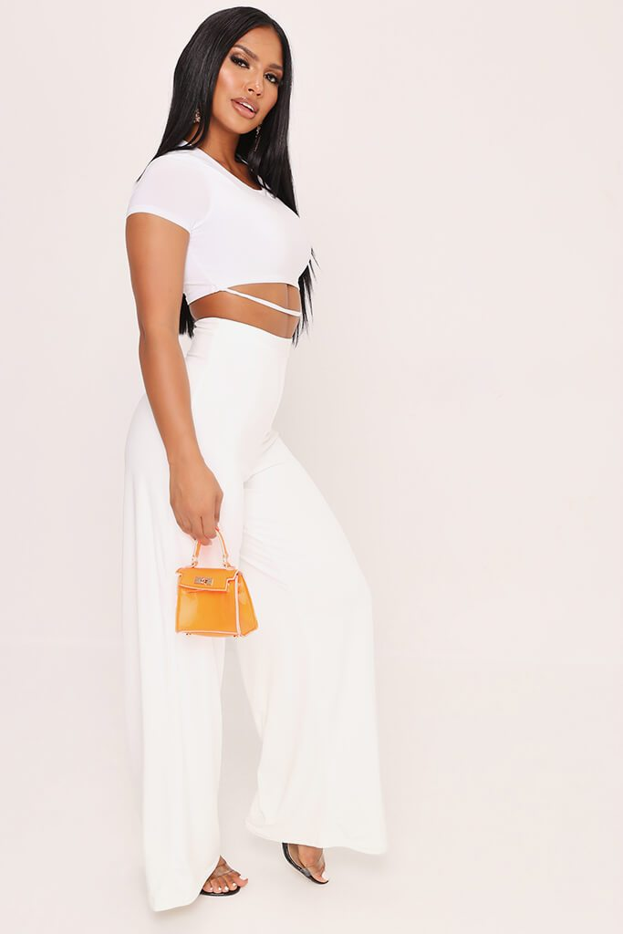White High Waisted Premium Slinky Wide Leg Trousers view 3
