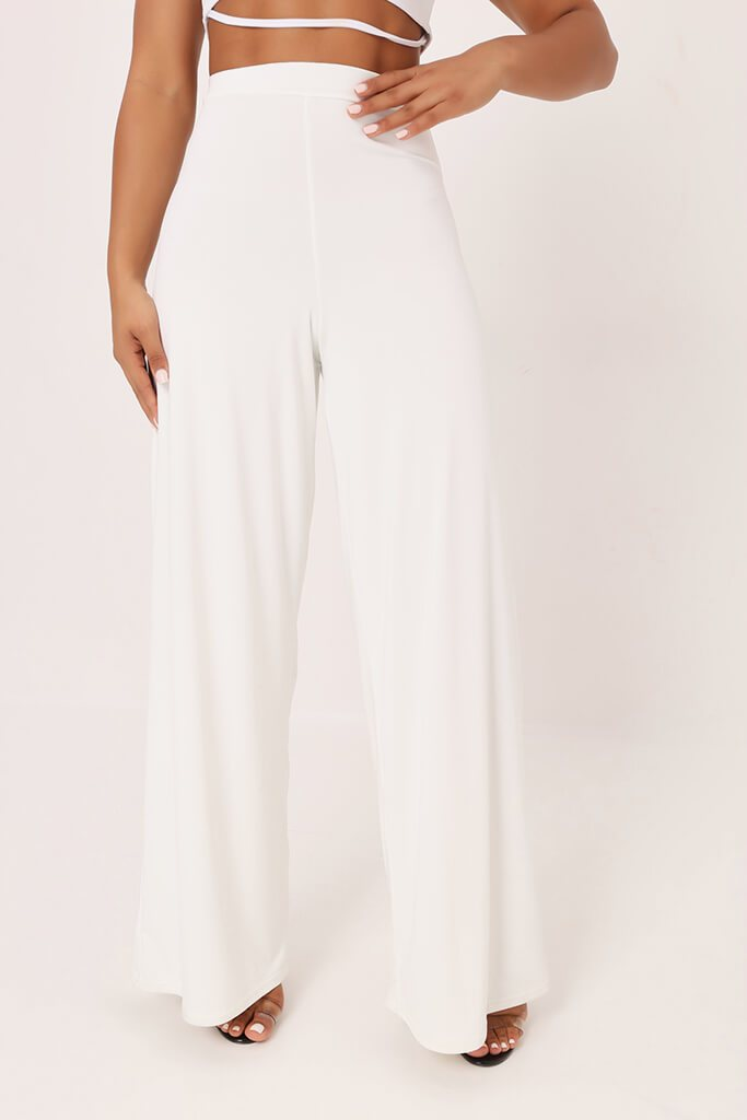 White High Waisted Premium Slinky Wide Leg Trousers view 2