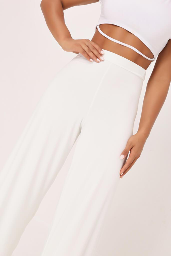 White High Waisted Premium Slinky Wide Leg Trousers view 4
