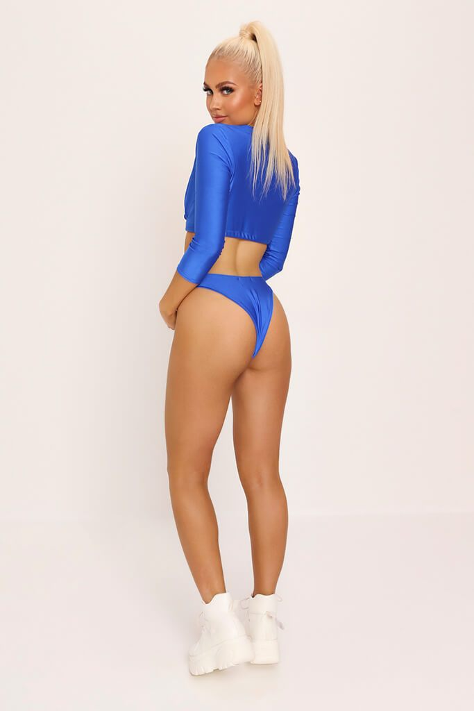 Cobalt Long Sleeve Tie Front Bikini Set view 5