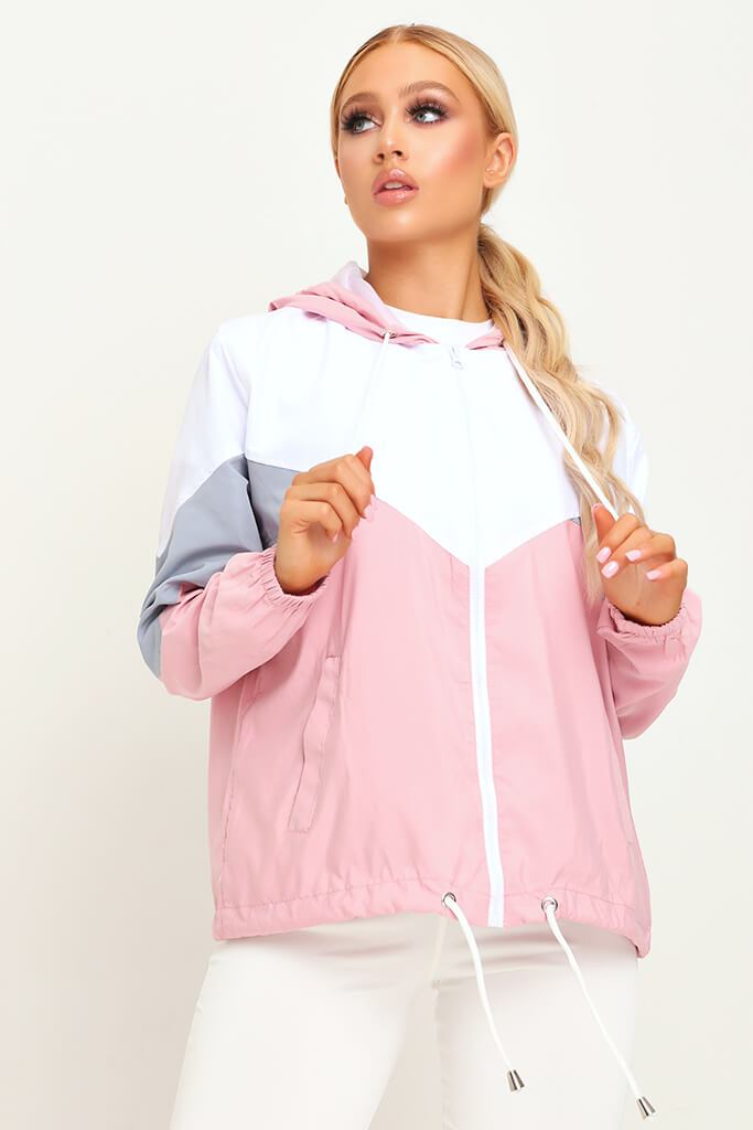 Pink Colour Block Wind Breaker view main view