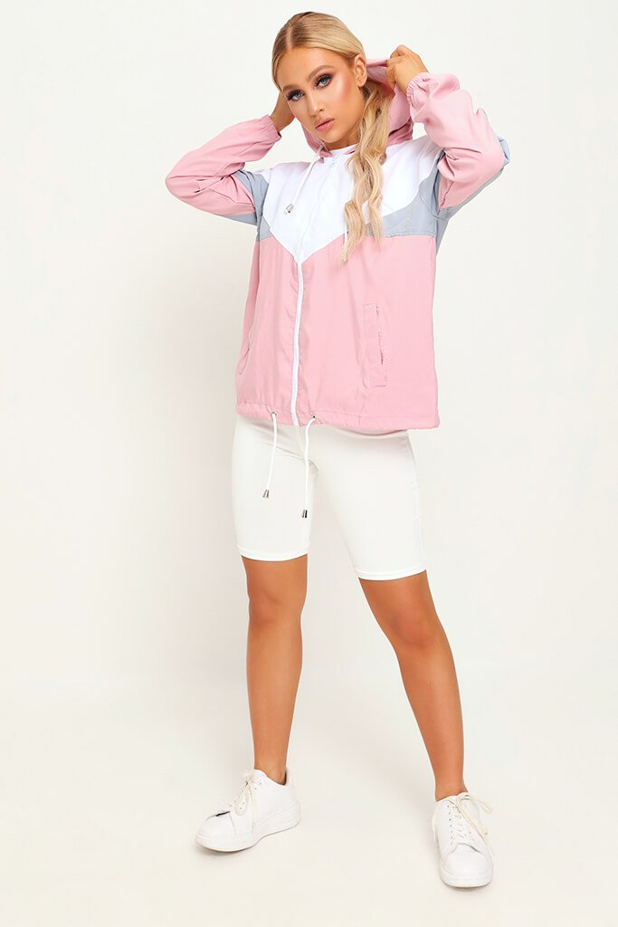 Pink Colour Block Wind Breaker view 2