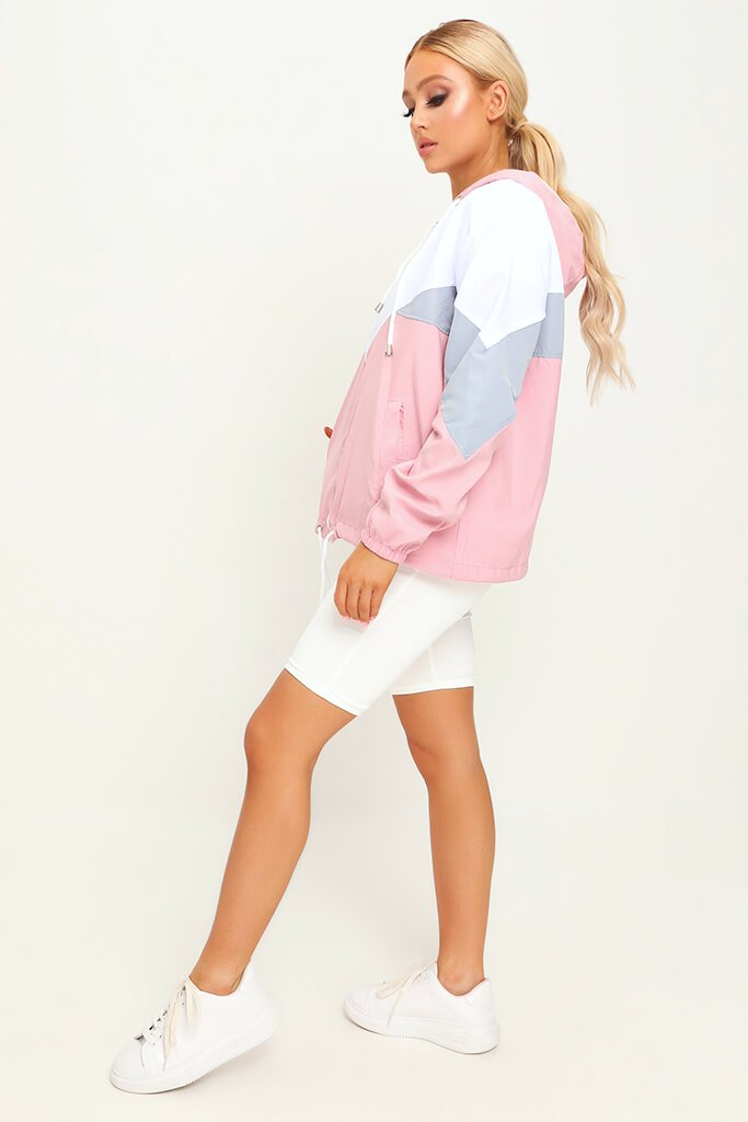 Pink Colour Block Wind Breaker view 3