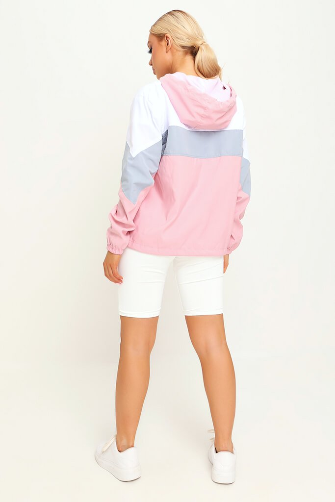 Pink Colour Block Wind Breaker view 5