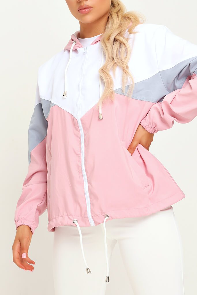 Pink Colour Block Wind Breaker view 4