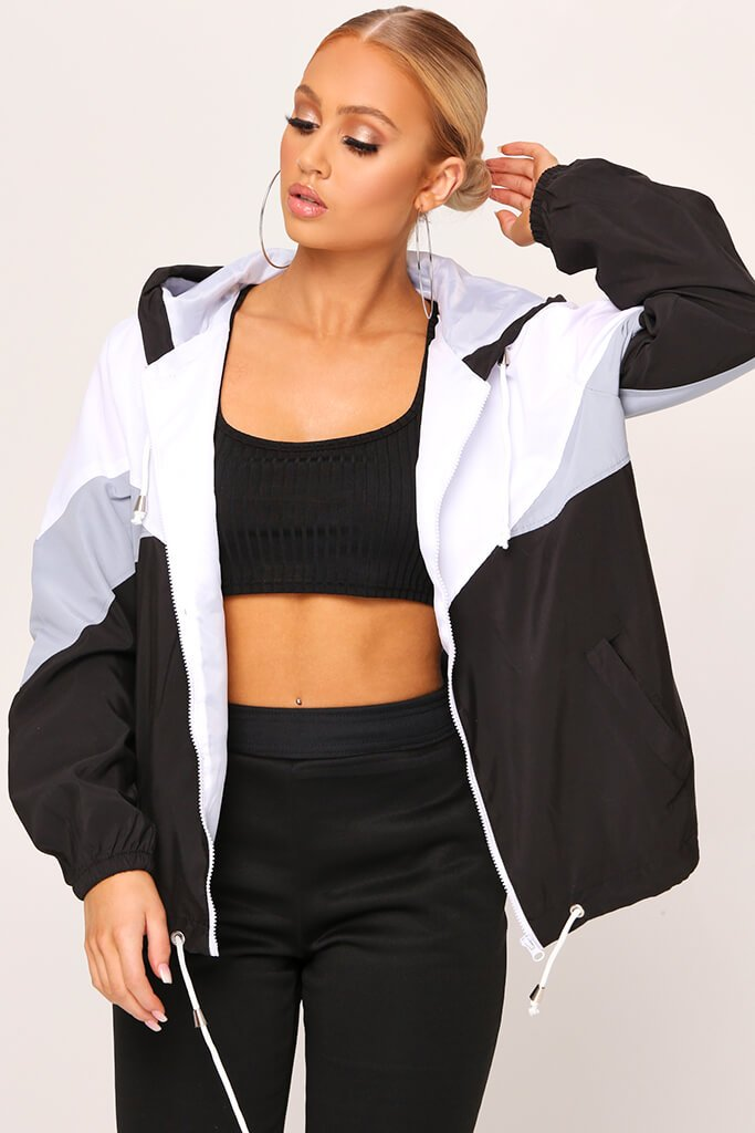 Black Colour Block Wind Breaker Jacket