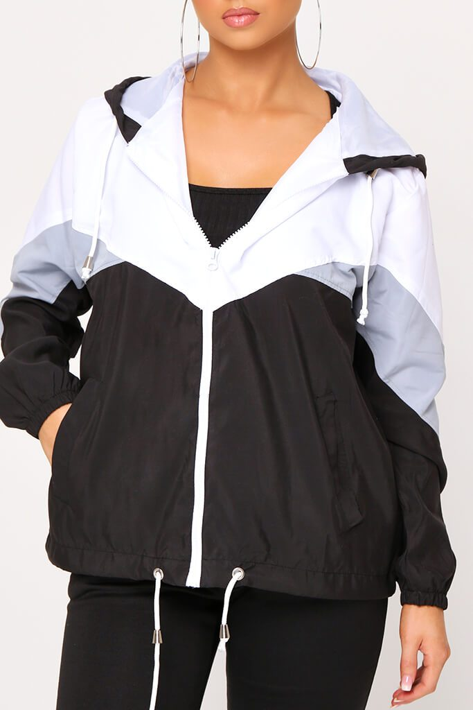 Black Colour Block Wind Breaker Jacket view 4