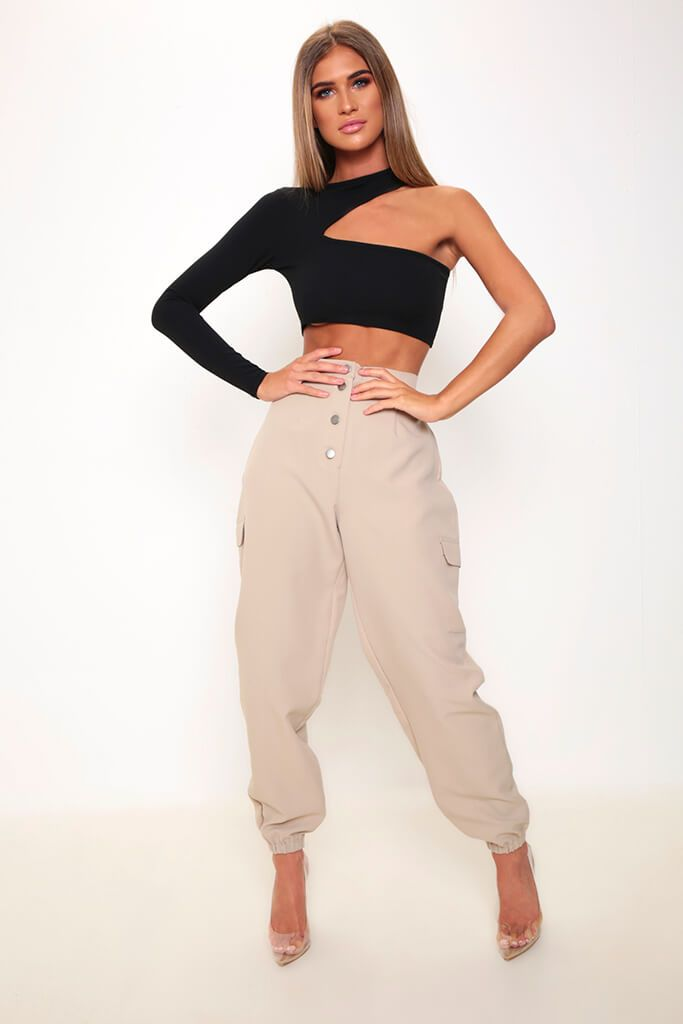 Black One Sleeve Cut Out Crop Top view 2