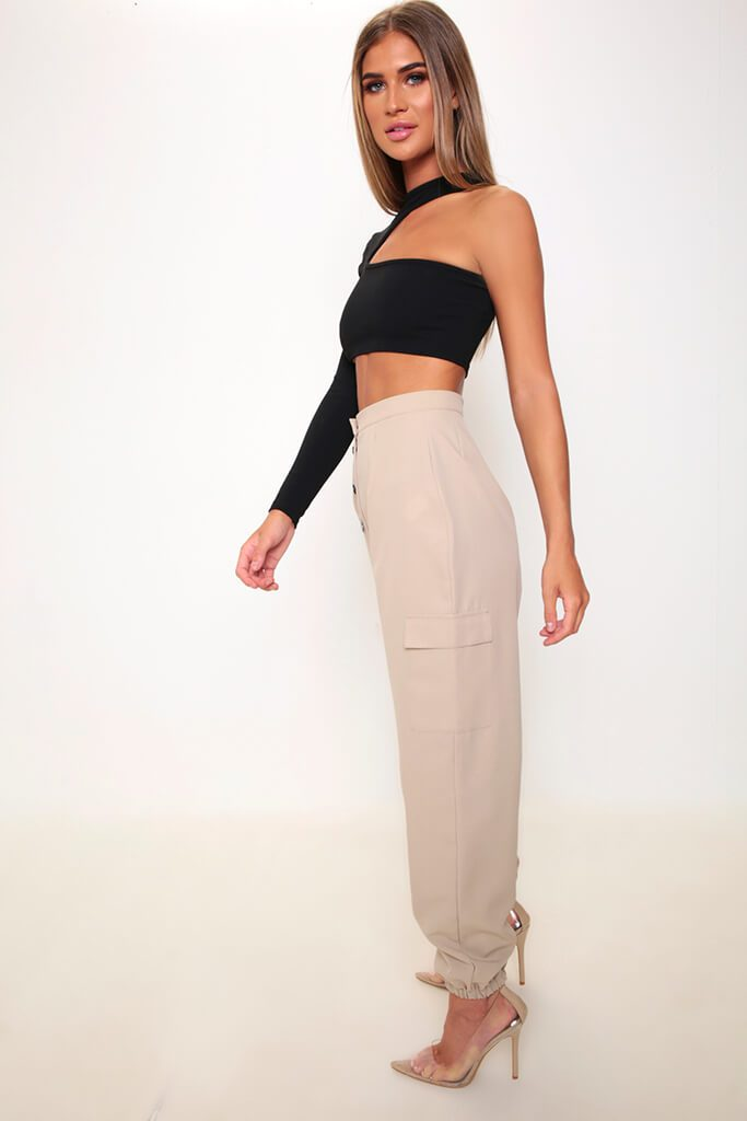 Black One Sleeve Cut Out Crop Top view 3