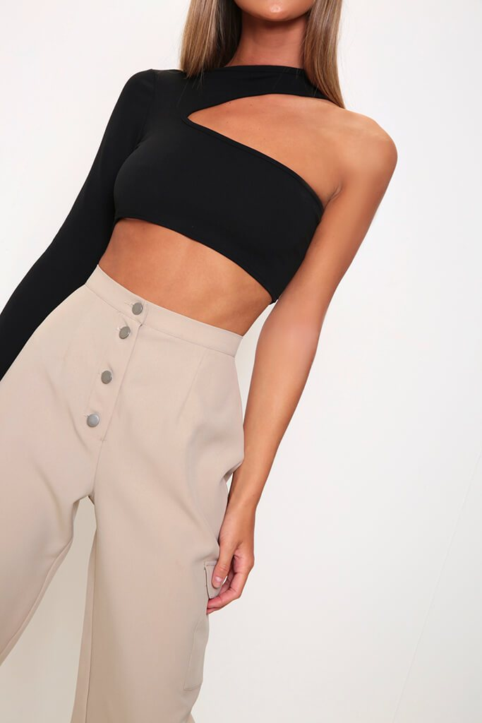 Black One Sleeve Cut Out Crop Top view 4