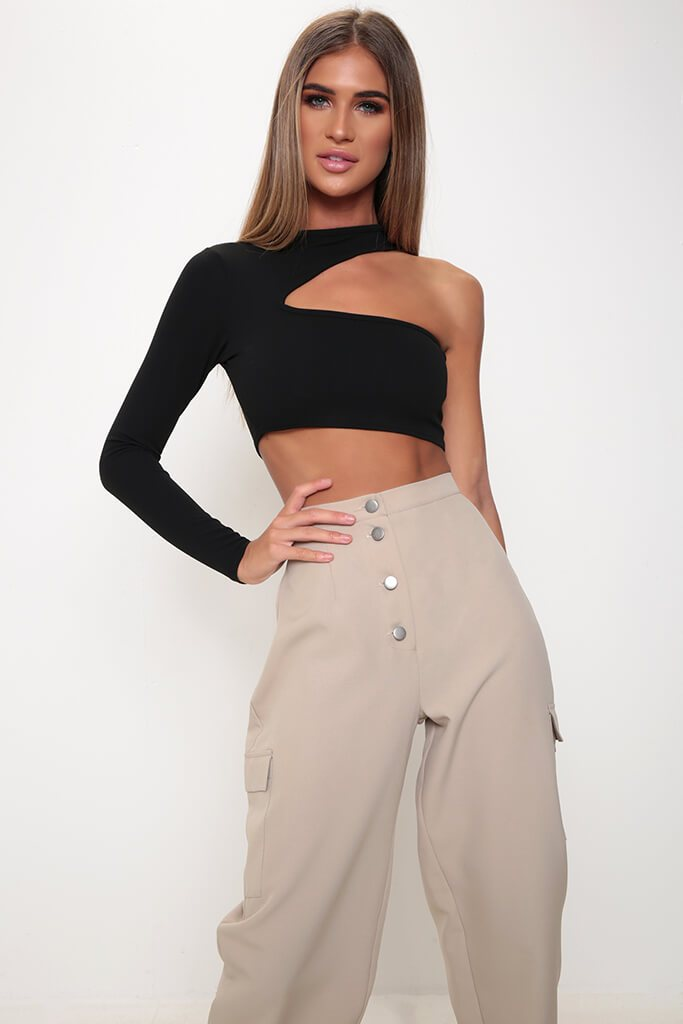 Black One Sleeve Cut Out Crop Top