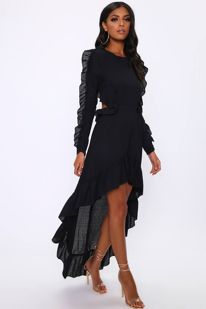 Black Frill High Low Skater Dress view 3