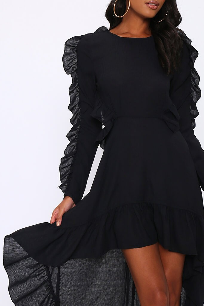 Black Frill High Low Skater Dress view 4