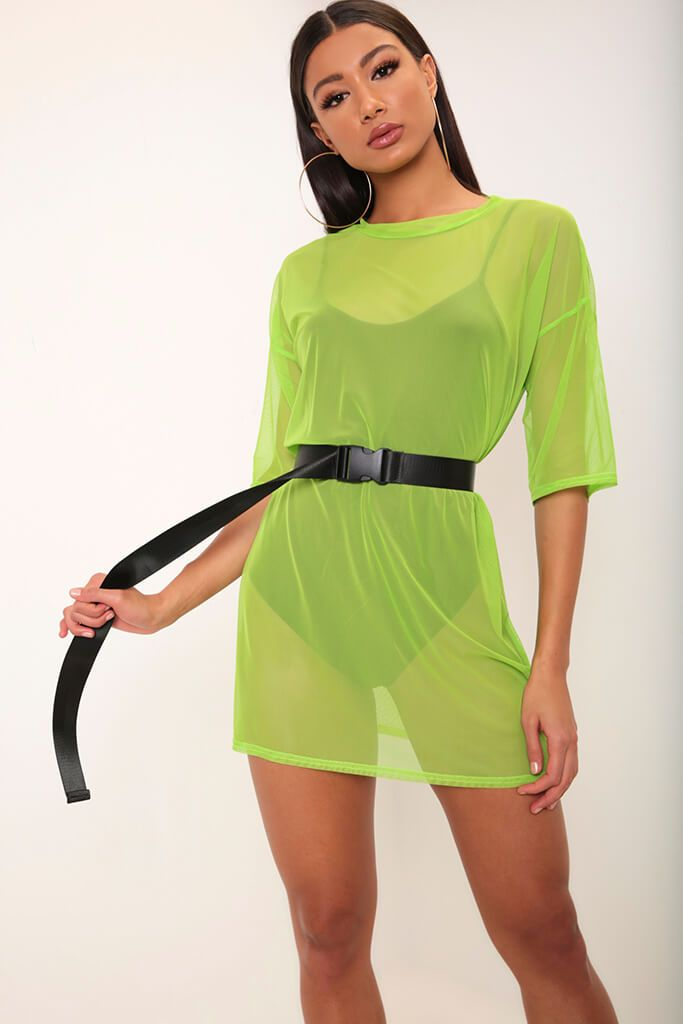 3461de25ad64 Neon Lime Mesh Boxy T-Shirt Dress - PDP – I SAW IT FIRST