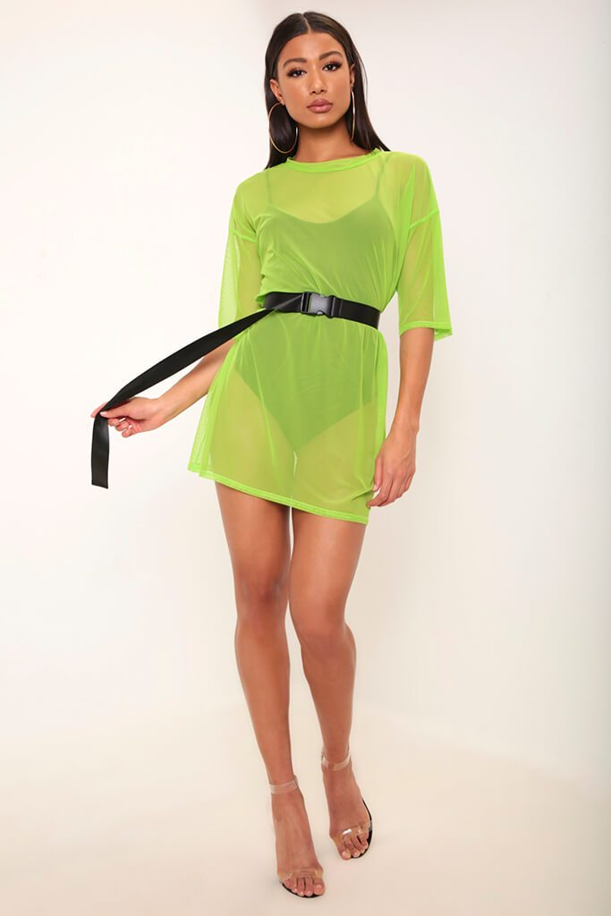 Neon Lime Mesh Boxy T-Shirt Dress view 2