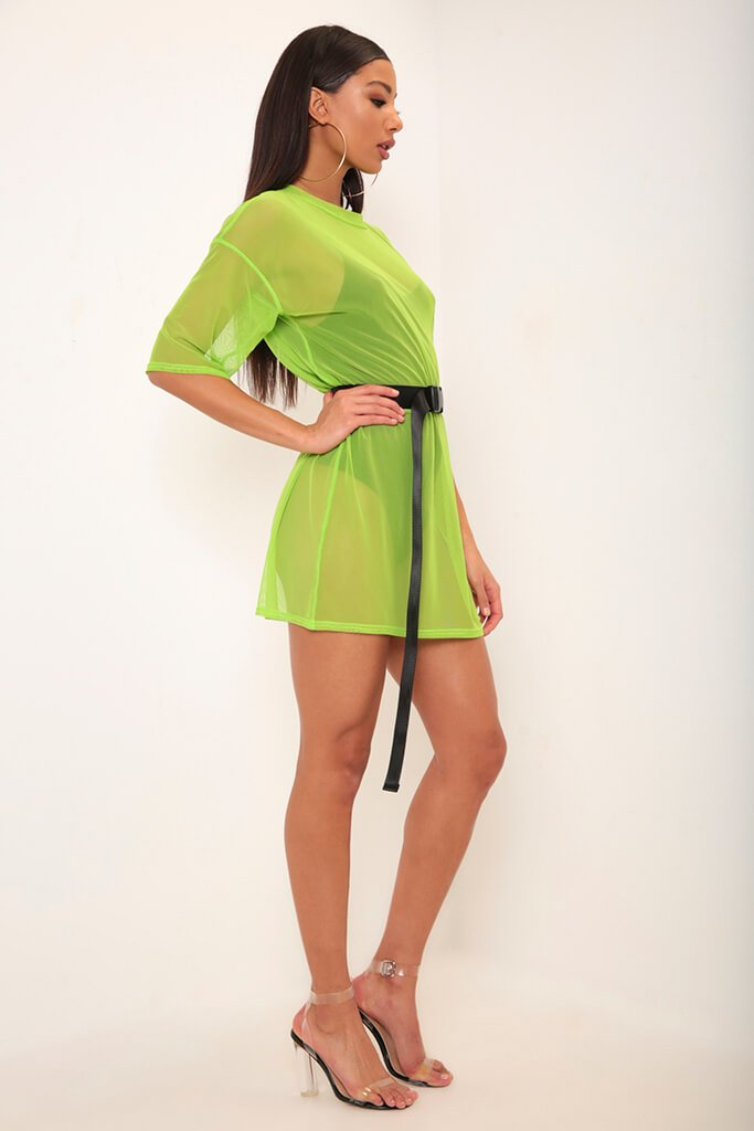 Neon Lime Mesh Boxy T-Shirt Dress view 3