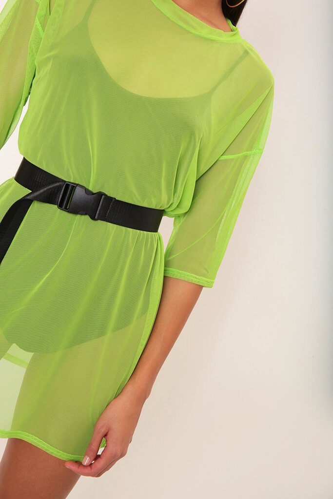 Neon Lime Mesh Boxy T-Shirt Dress view 4