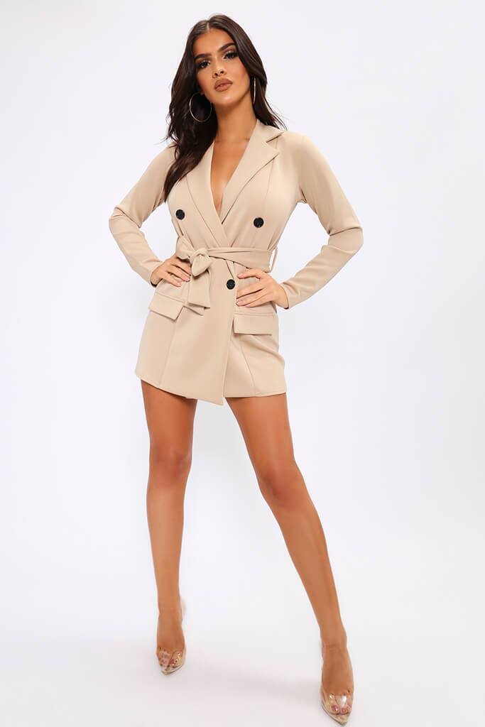 Beige Belted Double Breasted Blazer Dress view 2