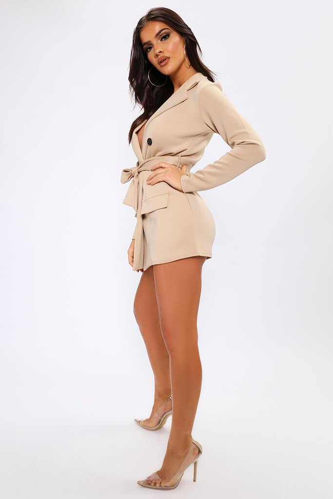 Beige Belted Double Breasted Blazer Dress view 3