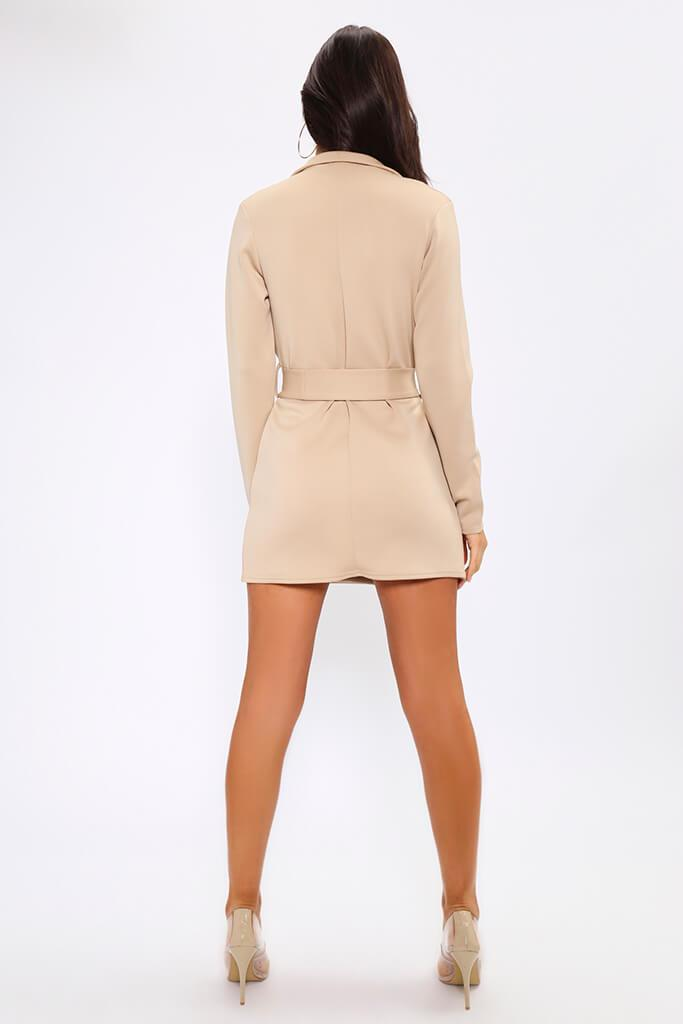 Beige Belted Double Breasted Blazer Dress view 5