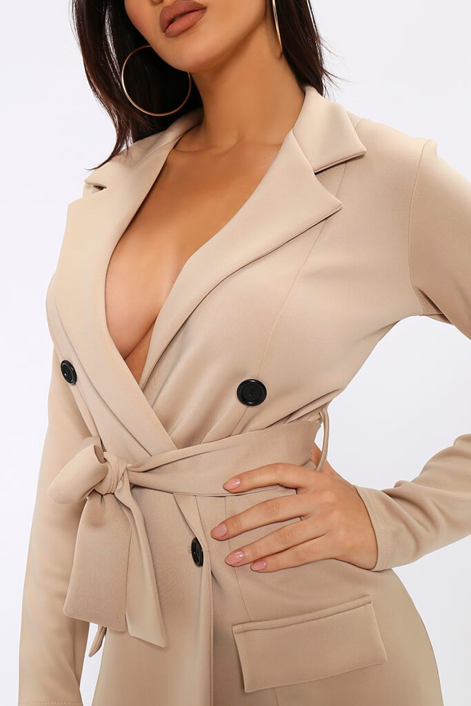 Beige Belted Double Breasted Blazer Dress view 4