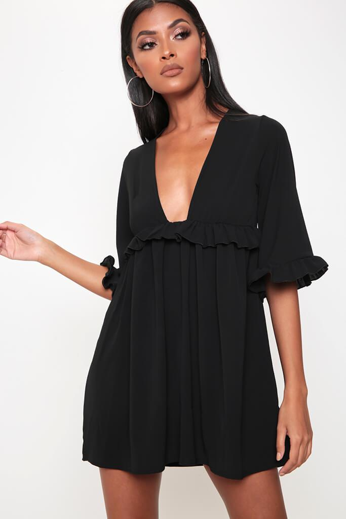Black Ruffle Detail Plunge Smock Dress