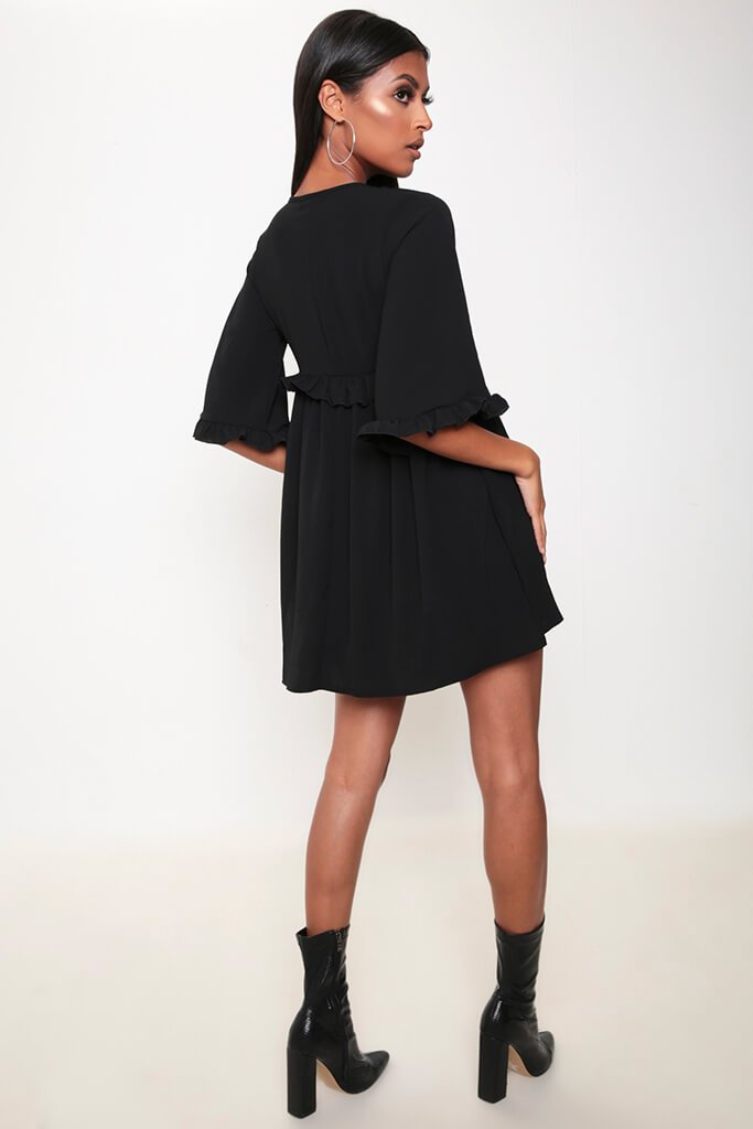 Black Ruffle Detail Plunge Smock Dress view 5