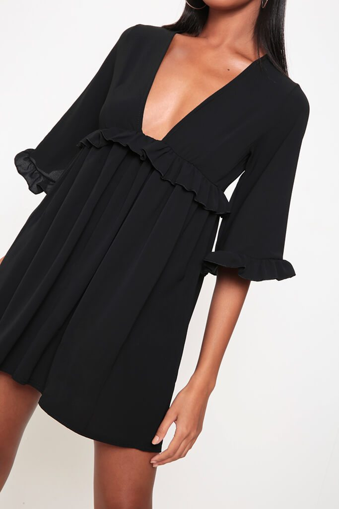 Black Ruffle Detail Plunge Smock Dress view 4