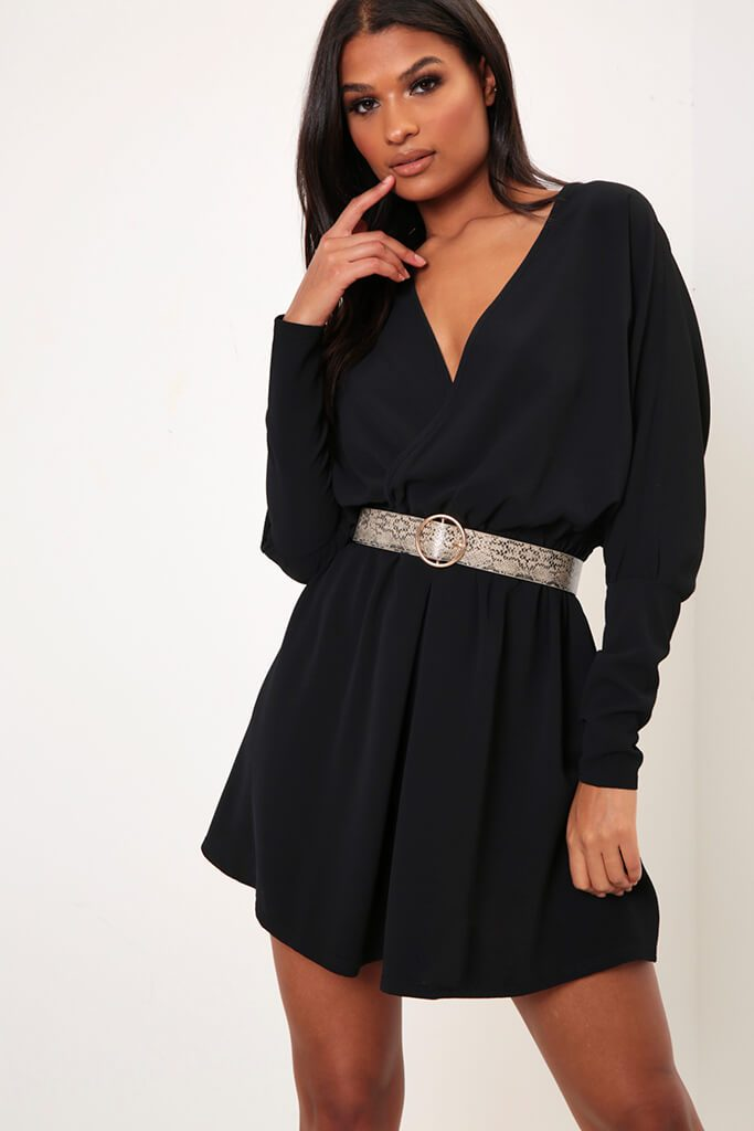 Black Balloon Sleeve Wrap Skater Dress view main view