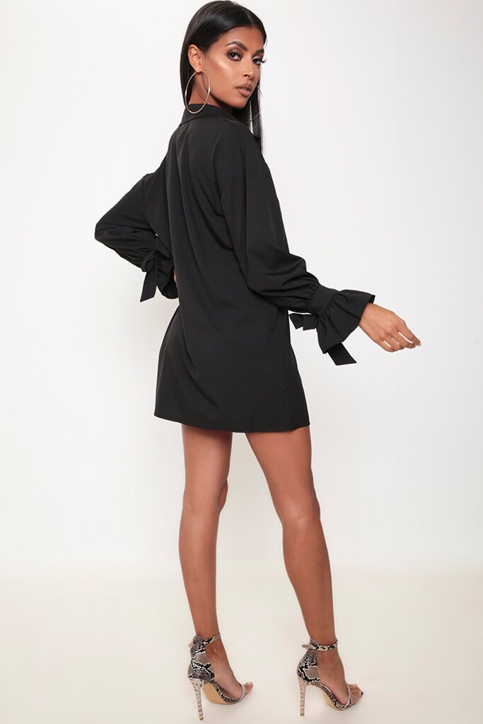 Black Tie Sleeve Shirt Dress view 5