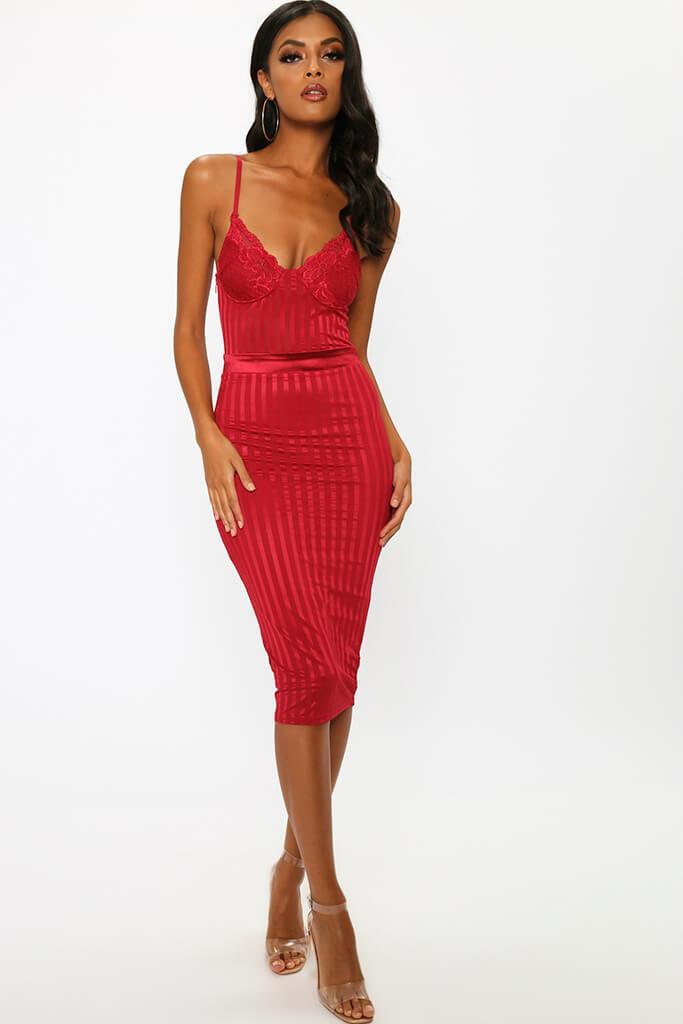 Red Lace Bustier Stripe Detail Midi Prom Dress