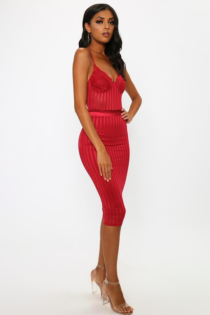 Red Lace Bustier Stripe Detail Midi Prom Dress view 3