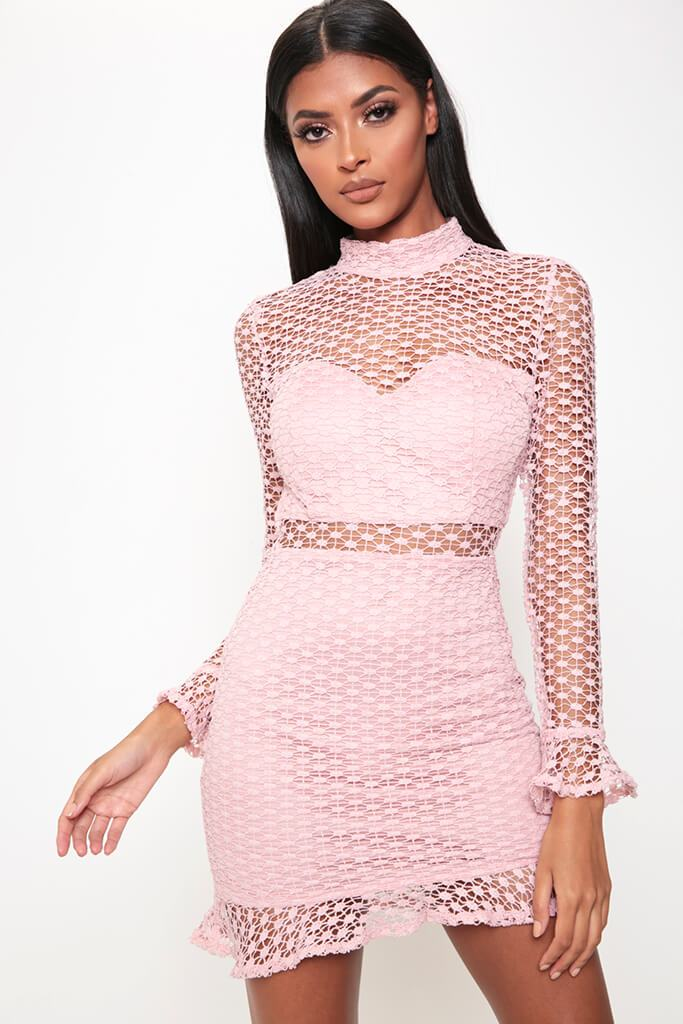 Rose Crochet Lace Open Back Dress view main view