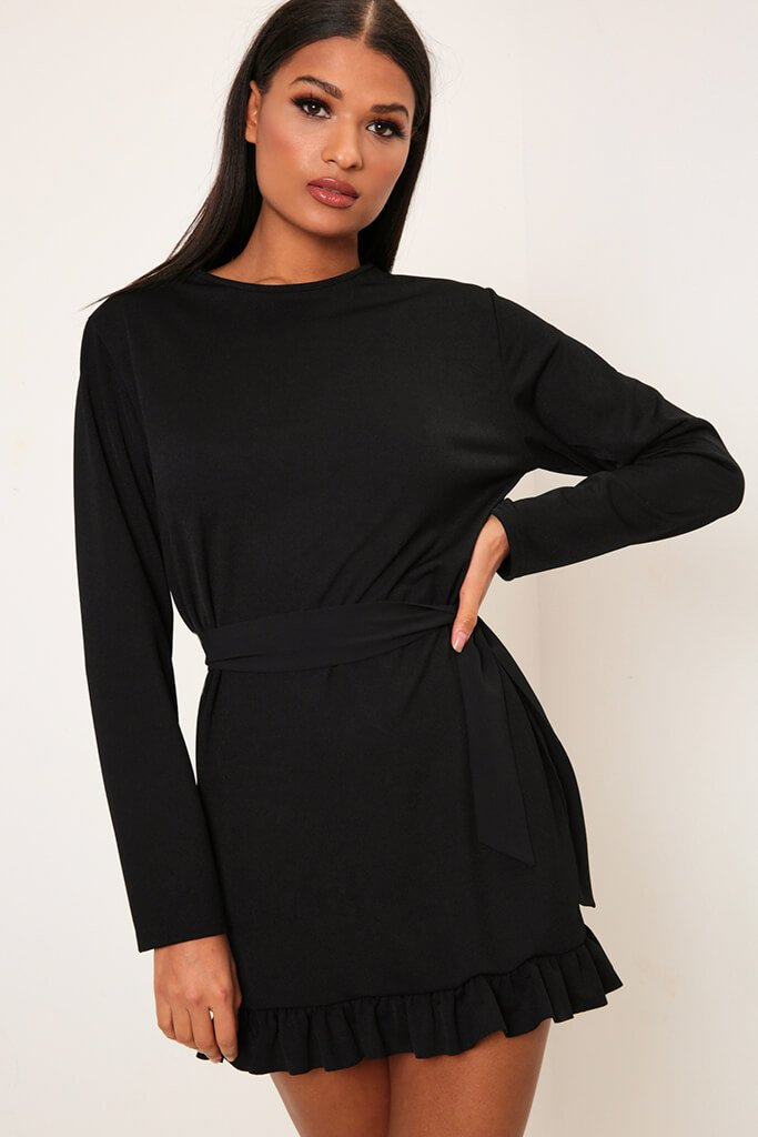 Black Long Sleeve Tie Waist Frill Detail Dress