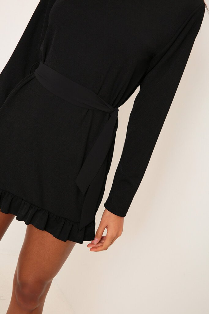 Black Long Sleeve Tie Waist Frill Detail Dress view 4