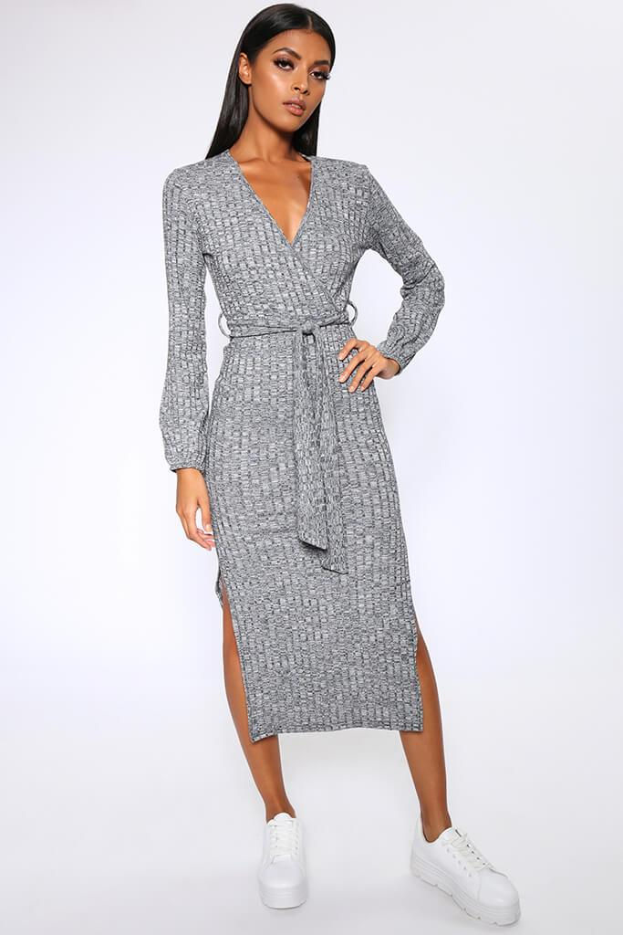 Charcoal Grey Chunky Rib Wrap Midi Dress