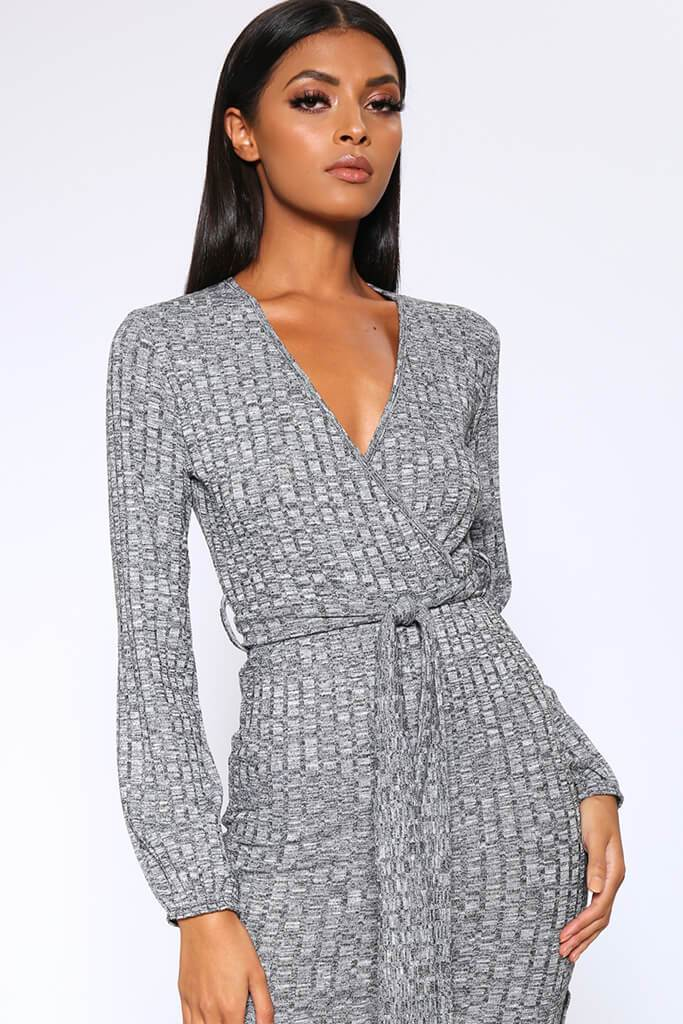 Charcoal Grey Chunky Rib Wrap Midi Dress view 2