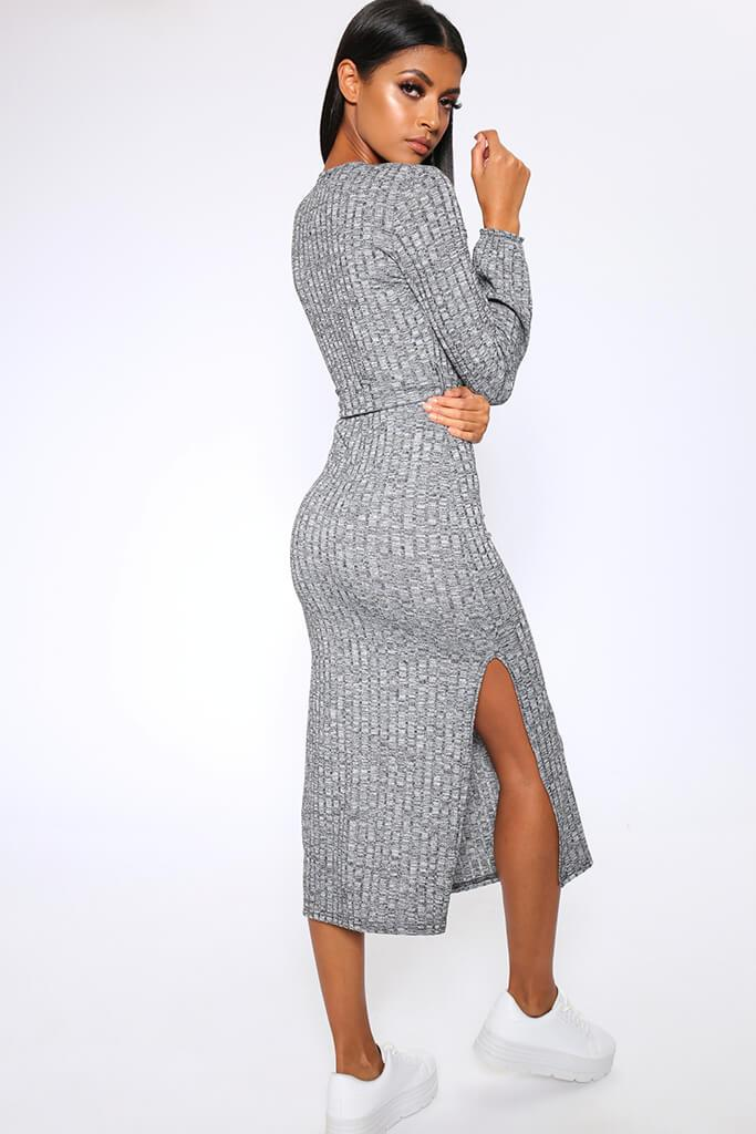 Charcoal Grey Chunky Rib Wrap Midi Dress view 5