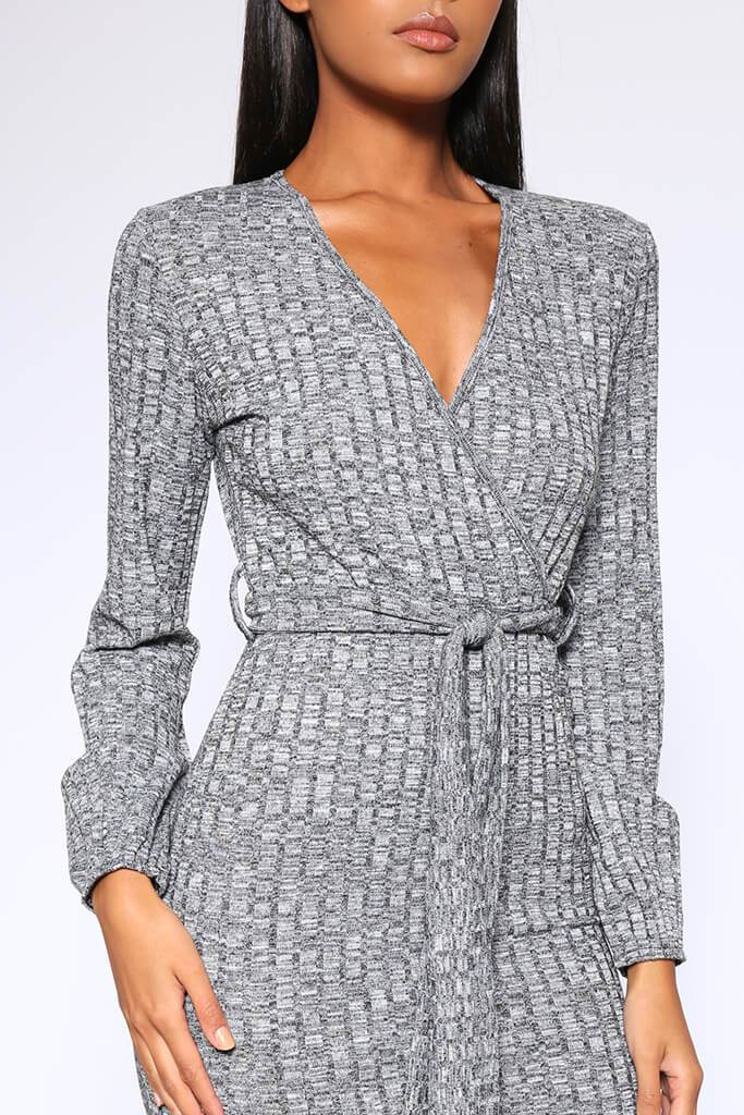 Charcoal Grey Chunky Rib Wrap Midi Dress view 3