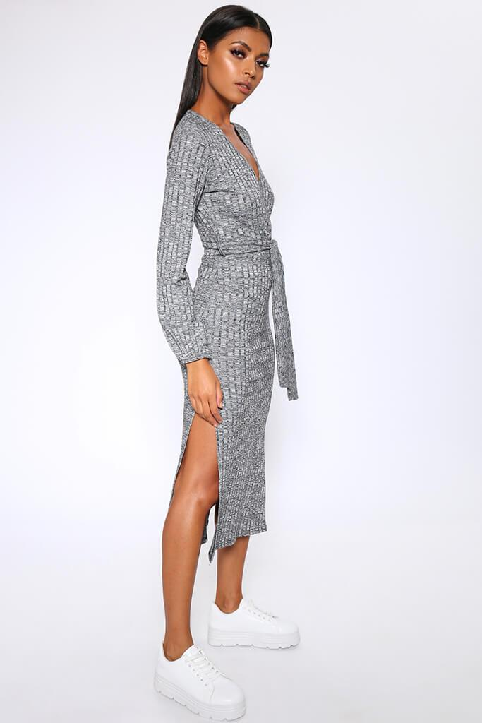 Charcoal Grey Chunky Rib Wrap Midi Dress view 4
