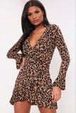 Brown Leopard Print Frill Wrap Dress
