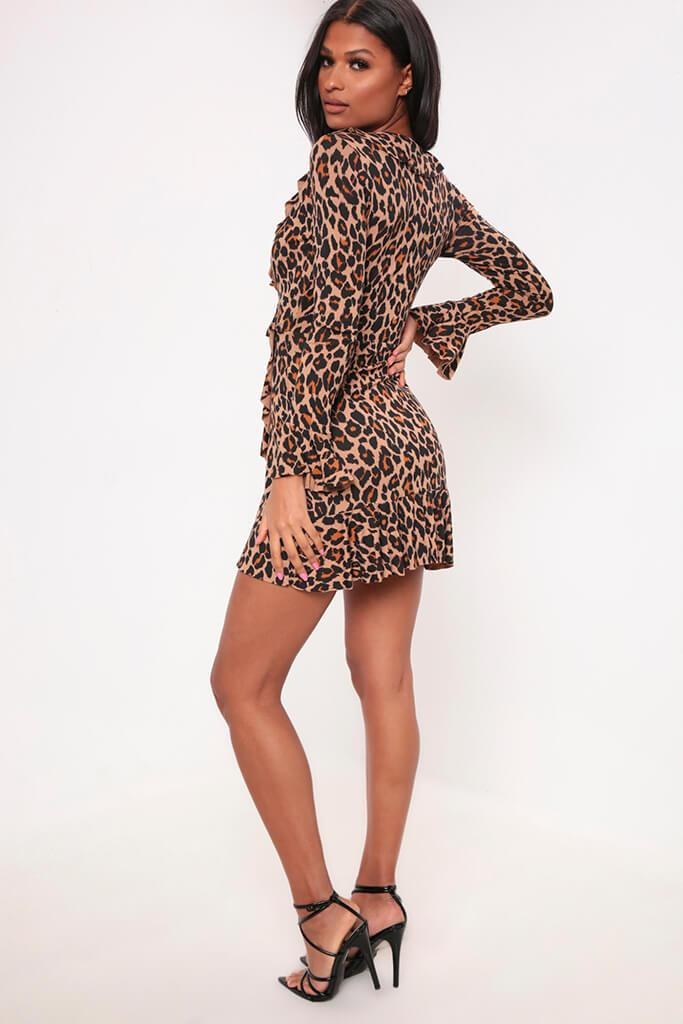 Brown Leopard Print Frill Wrap Dress view 5