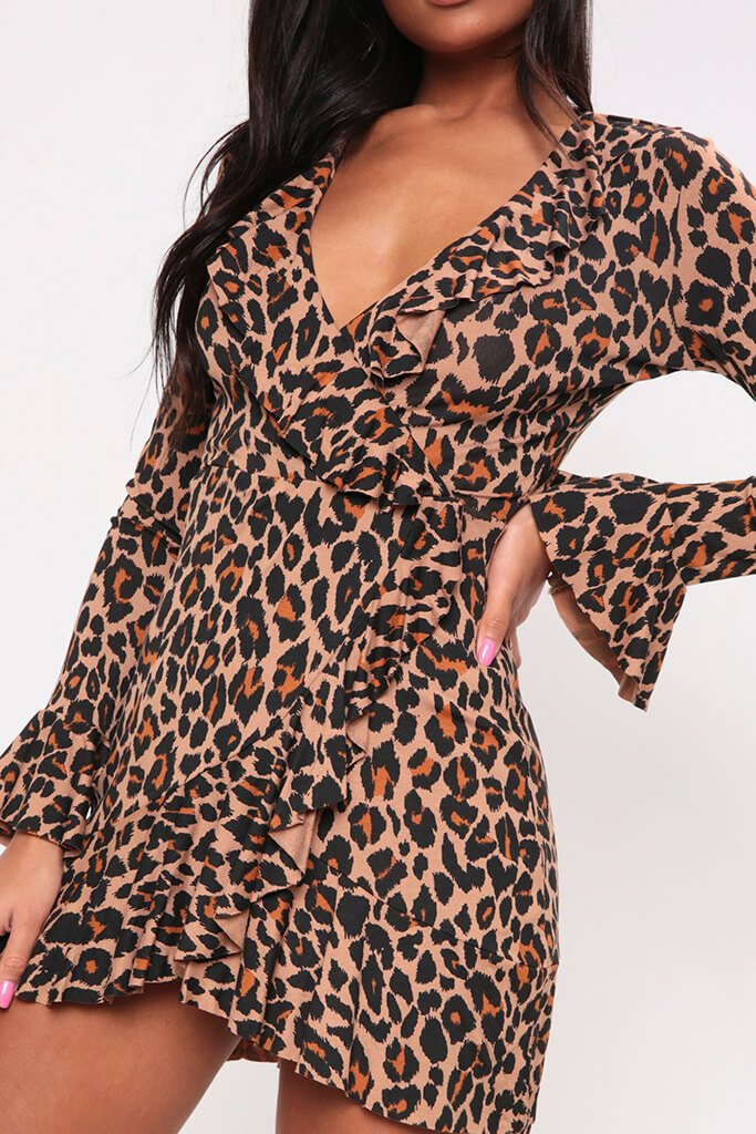 Brown Leopard Print Frill Wrap Dress view 4