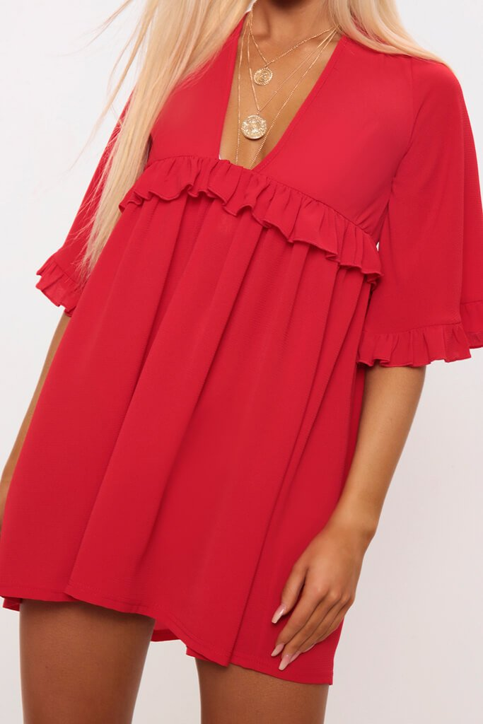 Red Ruffle Detail Plunge Smock Dress view 4
