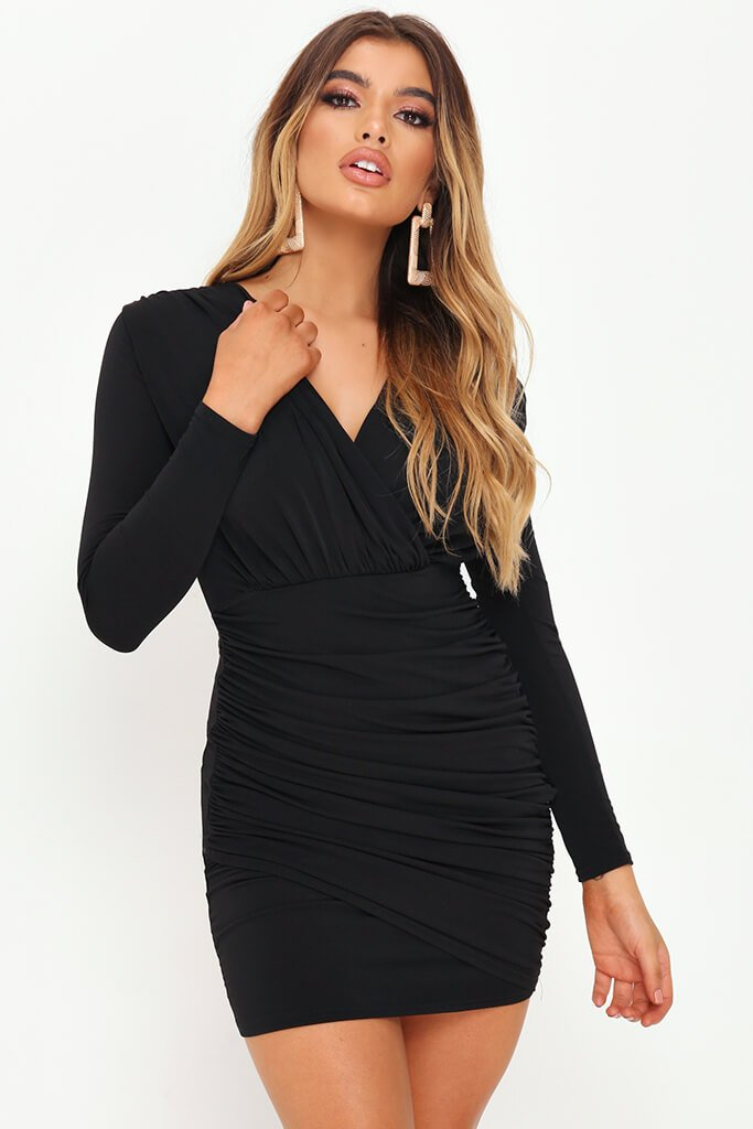 Black Plunge Ruched Side Bodycon Dress
