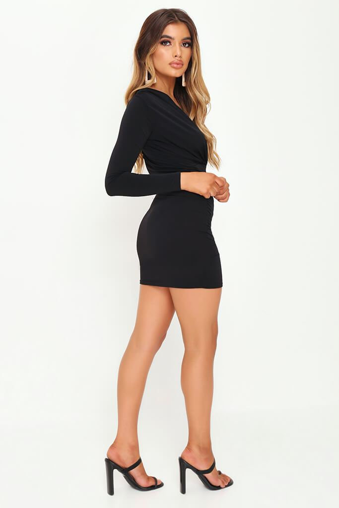Black Plunge Ruched Side Bodycon Dress view 3