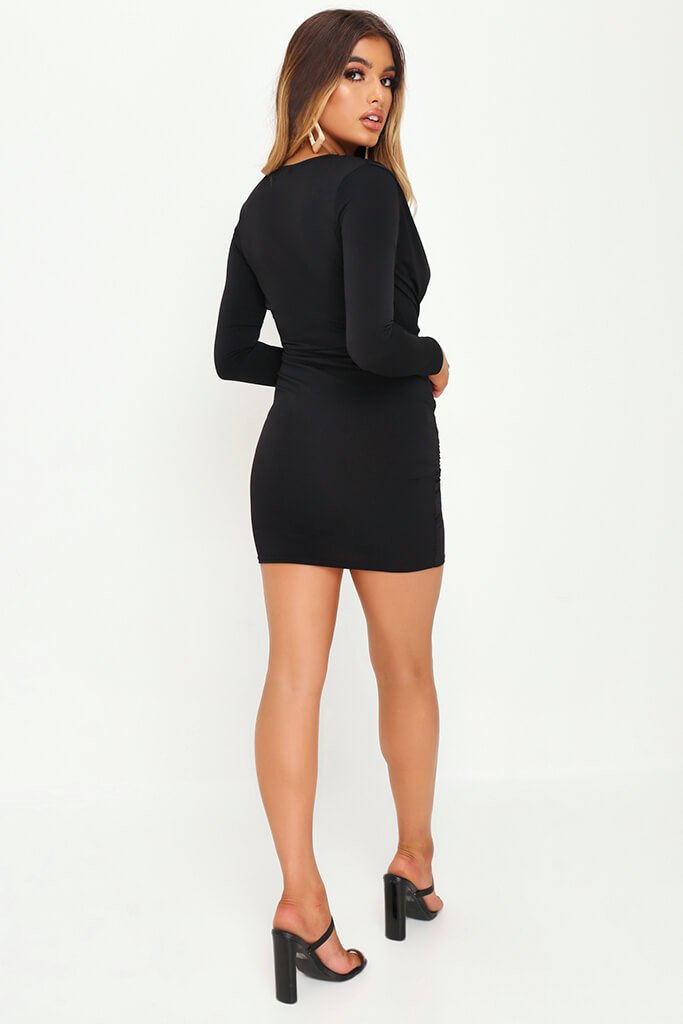Black Plunge Ruched Side Bodycon Dress view 5