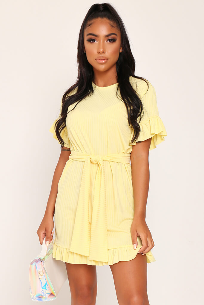 Lemon Jumbo Rib Tie Waist Frill Detail Dress