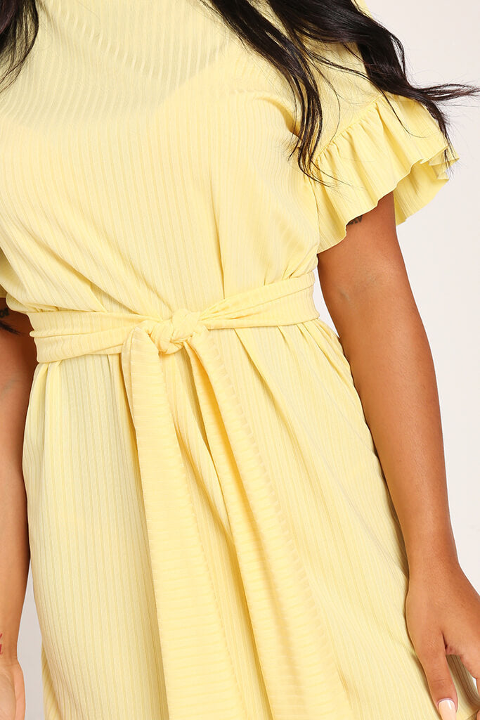 Lemon Jumbo Rib Tie Waist Frill Detail Dress view 4